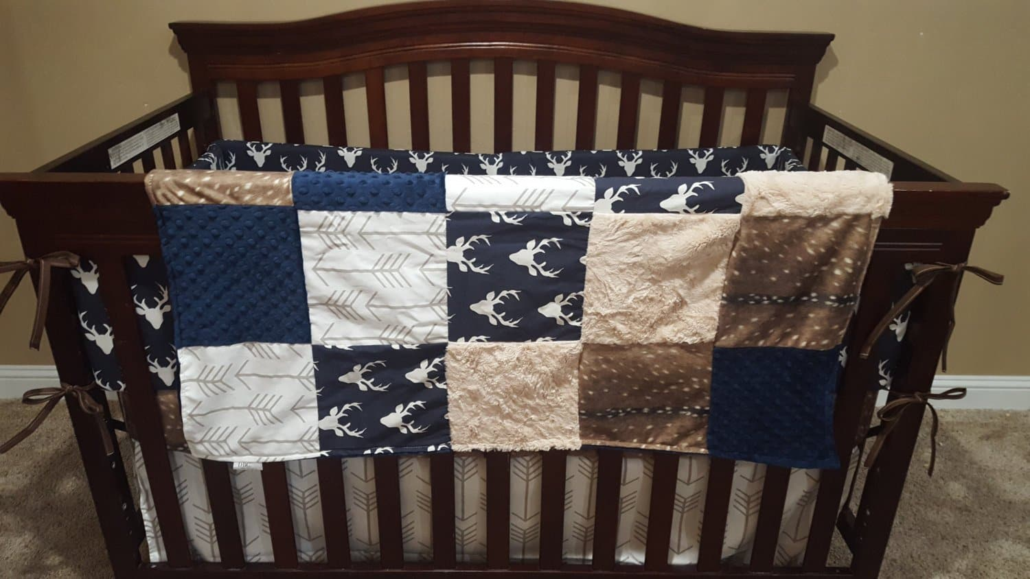 Boy Crib Bedding Navy Buck Deer Skin Minky White Tan