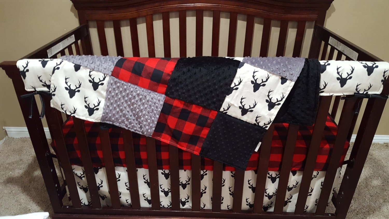 2 Day Ship Boy Crib Bedding - Buck Deer, Lodge Red Buffalo Check, and Gray, Woodland Collection