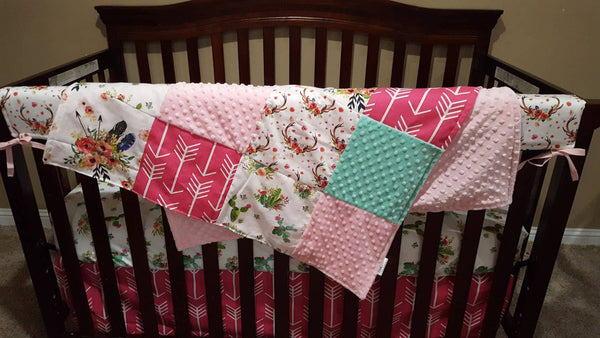 Baby Girl Crib Bedding Blooming Cactus Floral Feathers