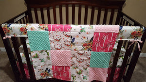 Custom Girl Crib Bedding - Blooming Cactus, Floral Feathers, Hot Pink Arrow, Floral Antlers, Blush, and Mint, Boho Crib Bedding