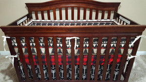 Custom Boy Crib Bedding - Aztec Bear, Black Arrows, Red Black Buffalo Check, Deer Skin Minky, Woodland Bear Nursery Set