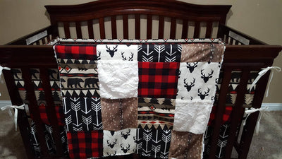Custom Boy Crib Bedding - Aztec Bear, Black Arrows, Red Black Buffalo Check, Deer Skin Minky, Woodland Bear Crib Bedding