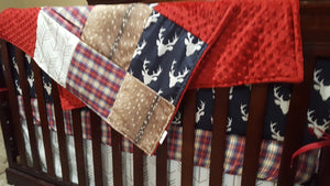 Ready to Ship Boy Crib Bedding- Navy Buck, Deer Skin Minky, White Tan Arrow, Red Navy Plaid, and Crimson, Woodland Buck Collection