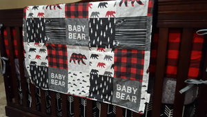 Custom Boy Crib Bedding - Baby Bear, Black Arrows, Red Black Buffalo Check, Black, and Gray, Baby Bear Crib Bedding
