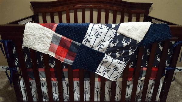 Deer Baby Boy Crib Bedding - White Navy Arrows, Navy Buck, Red Navy Check, Navy, and Ivory Crib Bedding Ensemble