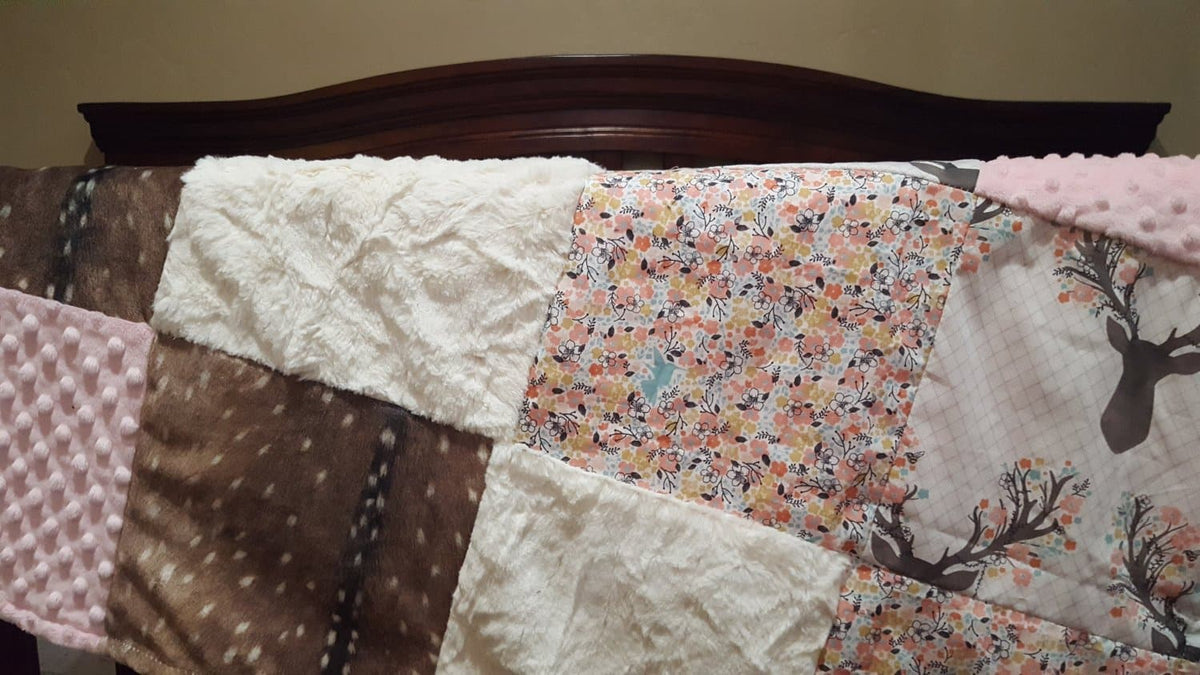 Patchwork Blanket - Deer Baby Girl Blanket - Fawn, Flowers, Deer Skin Minky, Blush Minky, and Ivory Crushed Minky Patchwork Blanket
