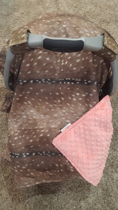 Carseat Tent - Deer Skin Cotton Carseat Canopy, Tent, Woodland