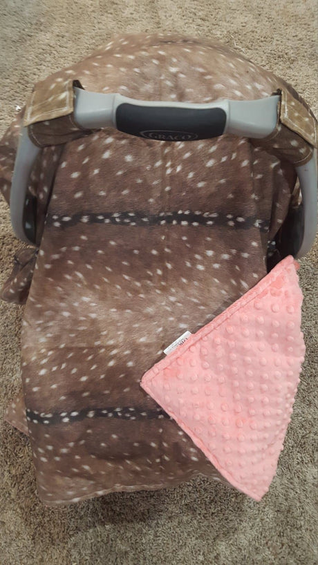 Carseat Tent - Deer Skin Cotton Carseat Canopy Tent Woodland & Carseat Tent | DBC Baby Bedding Co