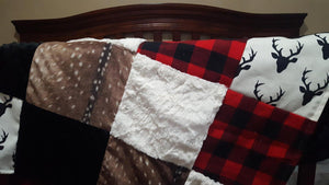 Buck Patchwork Blanket-Buck, Lodge Red Buffalo Check, Deer Skin Minky, Black Minky, and Ivory Crushed Minky Patchwork Blanket