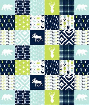 Woodland Patchwork Baby Blanket or Quilted Comforter- Bear, Buck, Moose - Toddler, Twin, Full, Queen