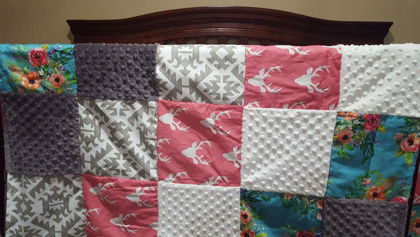 Girl Crib Bedding - Pink Buck, Floral, Aztec Pawnee, White Minky, and Gray Minky