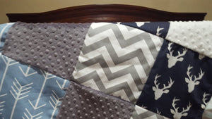 Blanket - Navy Buck, Gray Arrow, Cashmere Blue Arrow, White Minky, and Gray Minky Patchwork Baby Blanket