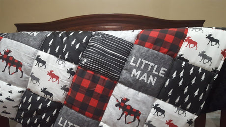 Little Man Moose Patchwork Fabric Baby Blanket or Quilted Comforter- Baby, Toddler, Twin, Full, Queen