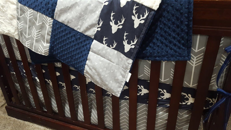 2 Day Ship Boy Crib Bedding - Navy Buck, Gray Arrow, and Chevron, Navy Woodland Collection