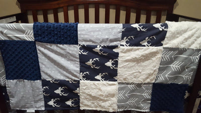 2 Day Ship Boy Crib Bedding - Navy Buck, Gray Arrow, Gray Pinstripe Chevron, Navy, and Ivory, Navy Woodland Collection