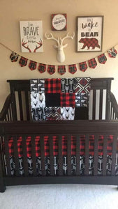 Boy Crib Bedding - Bear, Buck, Black Arrow, Aztec, Red Black Check , and Black
