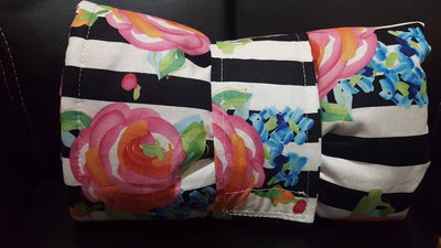 On the Go Changing Pad-Rose, Flowers, Black Stripe
