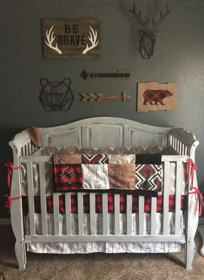 2 Day Ship Baby Boy Crib Bedding- Light Gray Buck, Deer Skin Minky, White Gray Arrow, Aztec, Red Black Buffalo Check, Woodland Baby Bedding