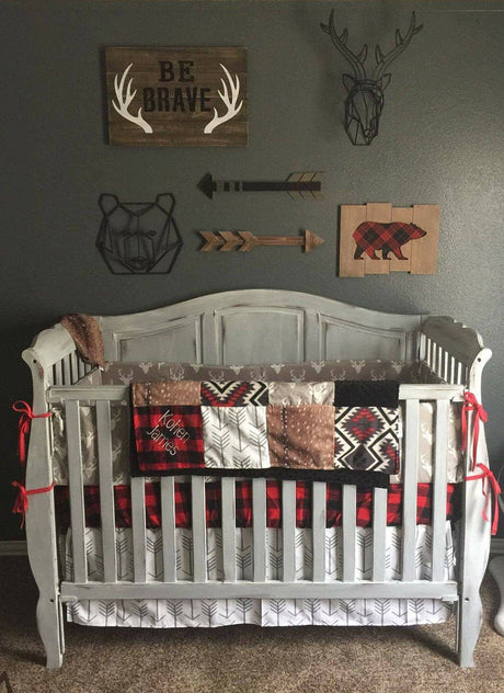 Boy Crib Bedding- Gray Buck, Deer Skin Minky, White Gray Arrow, Aztec, Red Black Buffalo Check, Woodland Crib Bedding