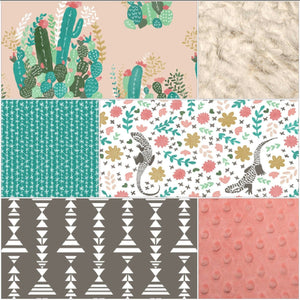 Baby Girl Crib Bedding - Flowering Cactus, Cactus Spines, Floral Iguanas,  Ivory Crushed Minky, and Coral Crib Bedding Ensemble