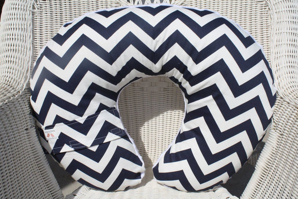 Nursing Pillow Cover-Navy Chevron and Minky Boppy Cover, Blue, Modern, Ready to Ship