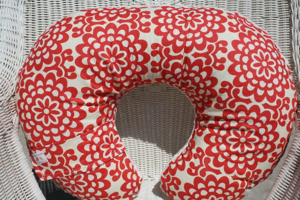 Nursing Pillow Cover - Amy Butler Red Lotus Wall Flower and Ivory Minky Boppy Cover - Modern, Floral