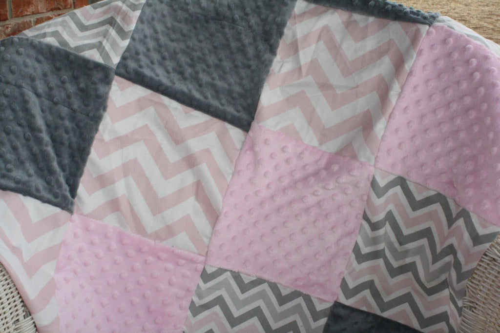 Patchwork Pink Gray Chevron and Damask with Light Pink Minky Baby Blanket