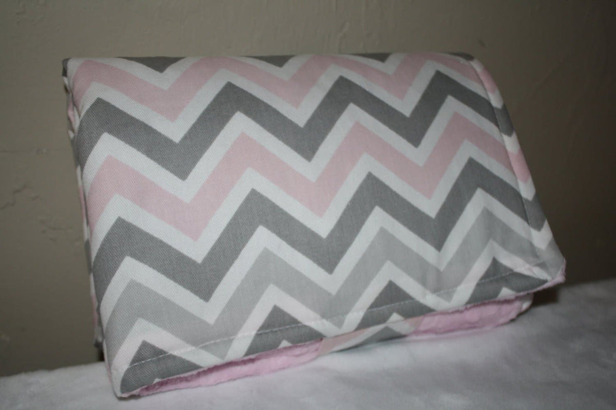 On the Go Changing Pad-Light Pink Gray Chevron and Minky Interior