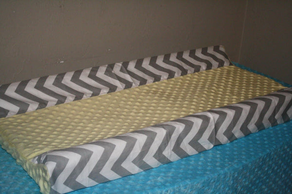 Deluxe Gray Chevron and Minky Contour Changing Pad Cover