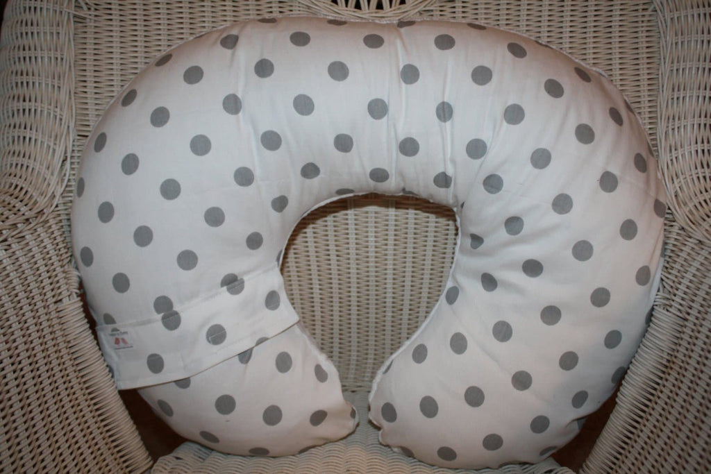 Nursing Pillow Cover- White with Gray Dots and Minky Boppy Cover - Dot, Neutral, Ready To Ship