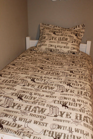 Comforter - Brown Ivory Cowboy Comforter and Sham -Toddler, Twin, Full, Queen