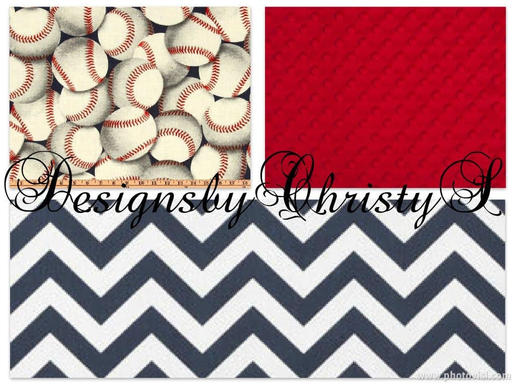 Ready to Ship Boy Crib Bedding - Baseball and Navy Collection