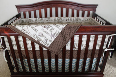 Cowboy Crib Bedding - Brown Cowboy, Brown Minky, and Village Blue Chevron Crib Bedding Ensemble