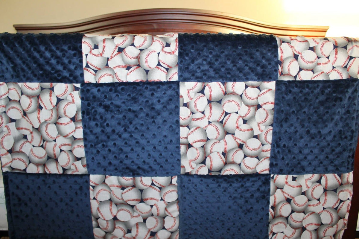 Patchwork Blanket - Baseballs and Navy Minky