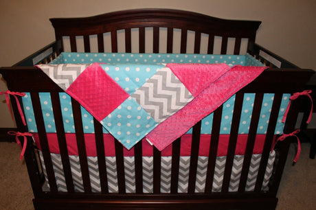 Ready to Ship Girl Crib Bedding - Aqua Dot, Gray Chevron, and Hot Pink
