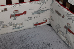 Vintage Airplane Crib Bumper