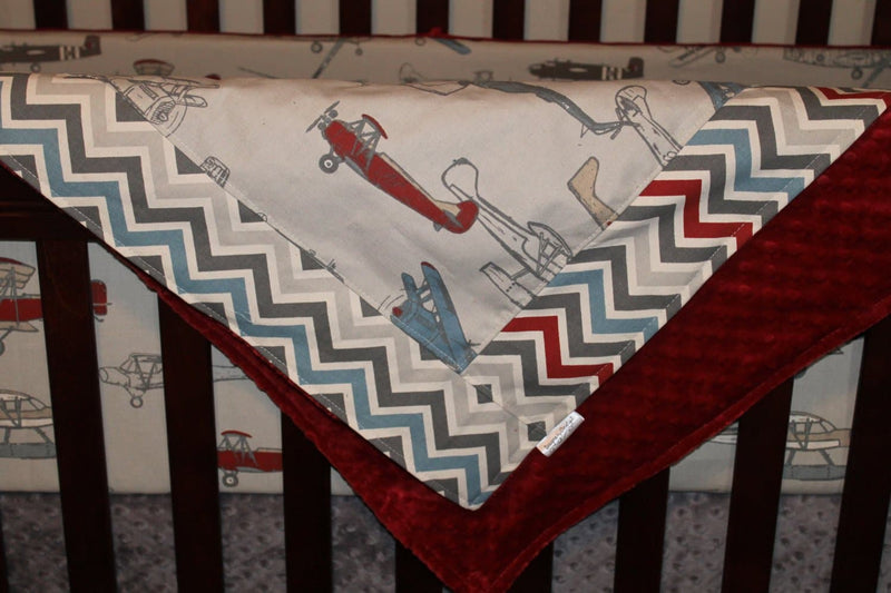 Ready to Ship Boy Crib Bedding - Vintage Airplane, Pewter Chevron, and Gray, Vintage Airplane Collection