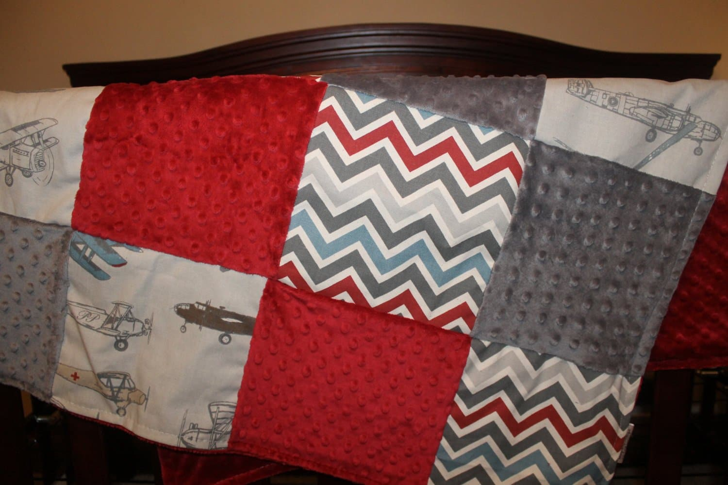 Ready to Ship Baby Boy Crib bedding - Vintage Airplane, Pewter Chevron, and Gray minky, Vintage Airplane Crib bedding