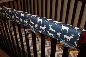 Deer Baby Crib Rail Guard Cover - Navy, Gray, Light Pink, Aqua, Apache Blue, Coral, Yellow, Kiwi Lime, Hot Pink