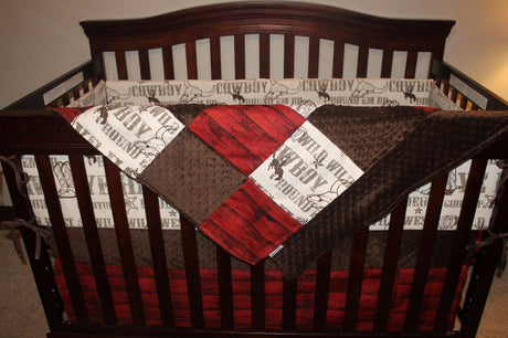 Cowboy Crib Bedding - Brown Cowboy, Brown Minky, and Red Barn Wood Crib Bedding Ensemble with Patchwork Blanket