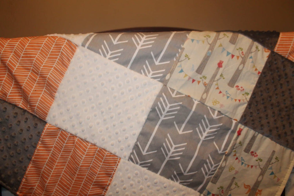 Woodland Baby Blanket - Organic Woodland Party, Orange Herringbone, Gray Arrows, White Minky, and Gray Minky Patchwork Baby Blanket