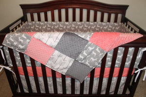 Ready to Ship Girl Crib Bedding - White Gray Arrows, Gray Deer, Coral, and Gray, Woodland Nursery Set
