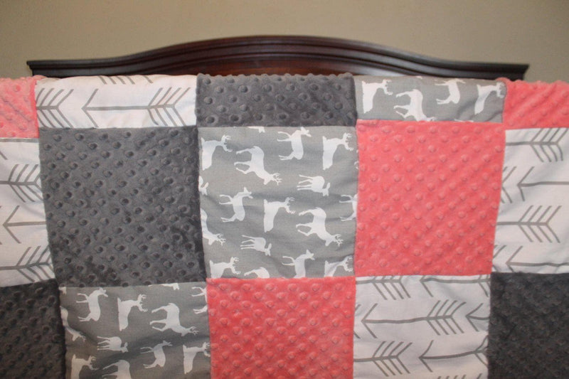 2 Day Ship Girl Crib Bedding - Deer, Arrow, Coral, and Gray, Woodland Crib Bedding