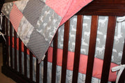 Girl Crib Bedding - White Gray Arrows, Gray Deer, Coral, and Gray Crib Bedding Ensemble with Blanket or Patchwork Blanket
