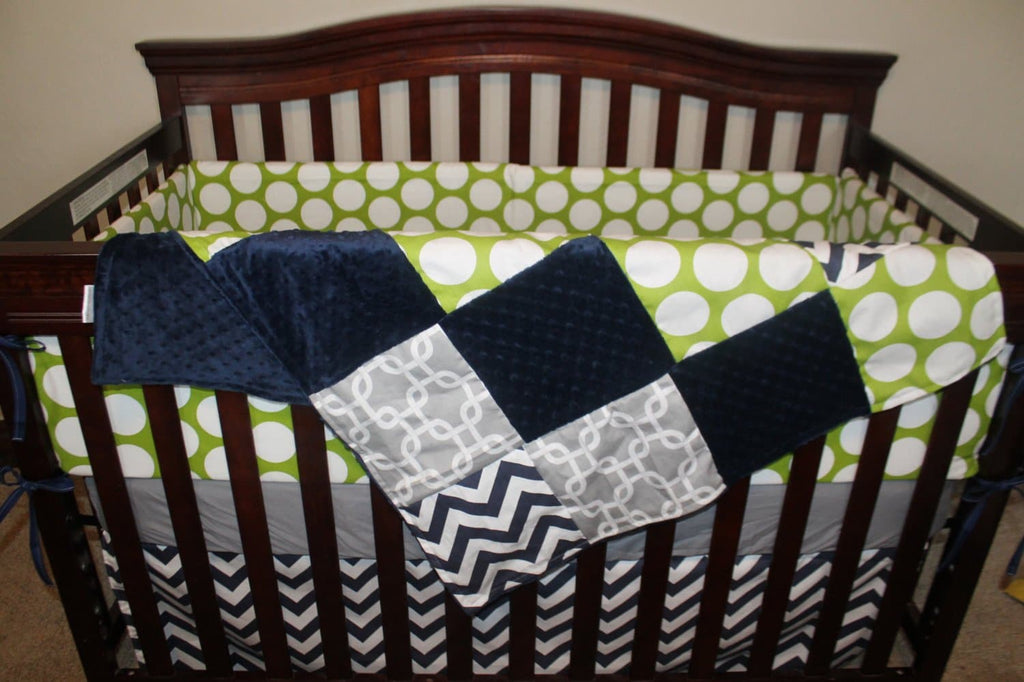 Lime Mod Dot, Navy Chevron, Gray Gotcha, and Navy Crib Bedding Ensemble