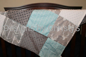 Ready to Ship Neutral Crib Bedding- Gray Buck, Gray Arrow, and Herringbone, Woodland Crib Bedding