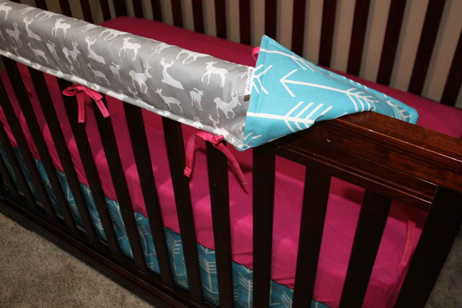 Girl Crib Bedding Gray Deer Apache Blue Arrow Fuschia