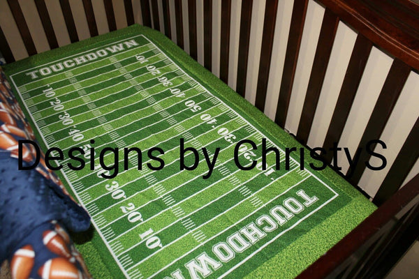 Team Sports Football Crib Bedding - Footballs, Touch Down Field, and Chevron Crib Bedding Ensemble