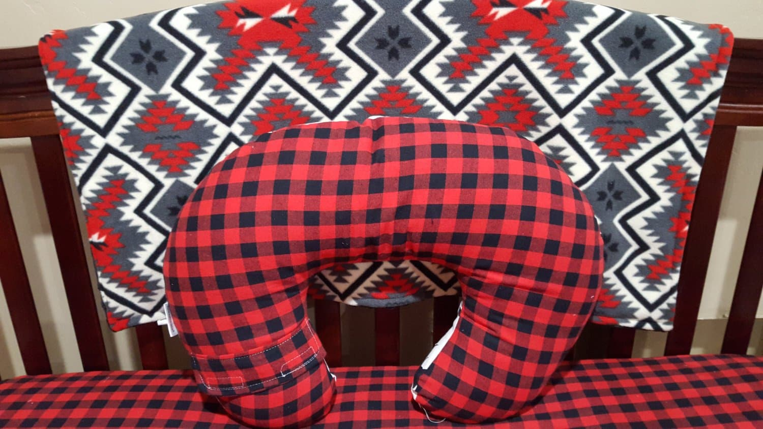 Nursing Pillow Cover -Red Black Buffalo Check and Minky Dot Boppy Cover