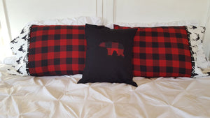 Red, Black Buffalo Check with Black Buck Cuff and Black Arrow Trim Lodge Pillowcase, All Buffalo Check Pillow cover,or Black with Bear Cover